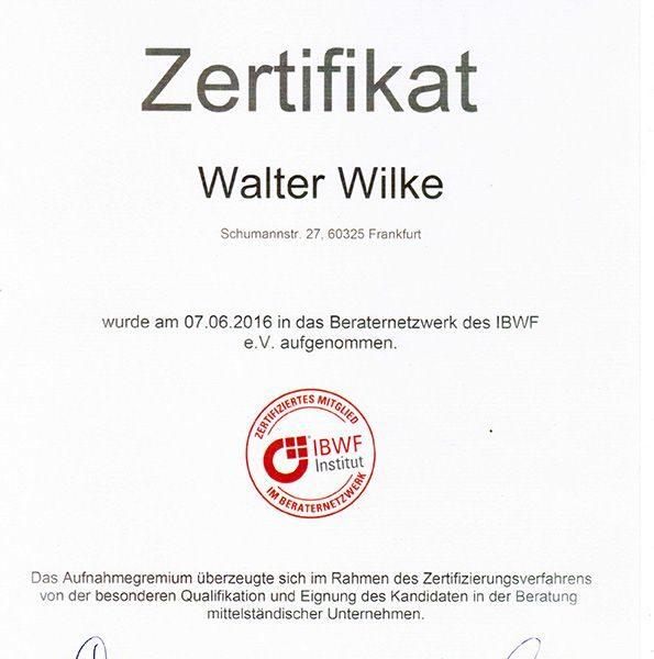 IBWF Zertifikat für Walter Wilke