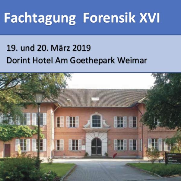 Aussenansicht Dorint Hotel Am Goethepark Weimar mit Ankündigung Fachtagung Forensik XVI