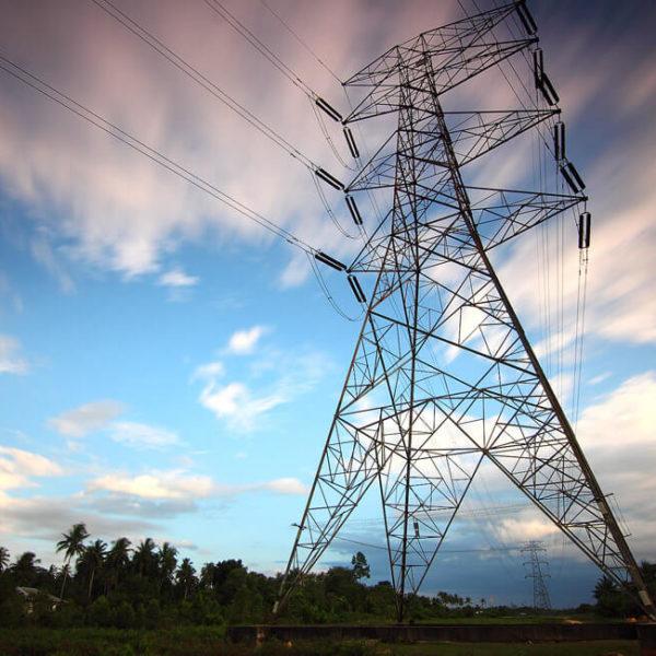 Strommast Stockfoto der KWK GmbH zu Energieversorgung